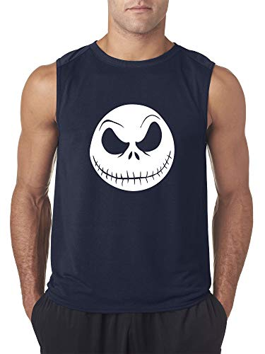 New Way 1122 - Men's Sleeveless Nightmare Before Christmas Jack Skelleton Face Large Navy (Twas The Night Before Christmas Hi 5)