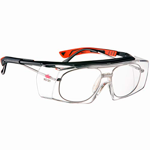 NoCry Over-Glasses Safety Glasses - with Clear Anti-Scratch Wraparound Lenses, Adjustable Arms, Side Shields, UV400 Protection, ANSI Z87 & OSHA Certified, Black & Red Frames