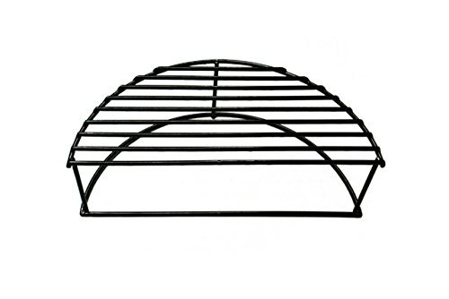 BBQ funland Porcelain Steel 16-Inch diameter Half Moon Warming / Smoking Rack Grate for Large Grill Dome, Large & XLarge Big Green Egg, AKORN Kamado, Pit Boss, Vision Grill by BBQ funland