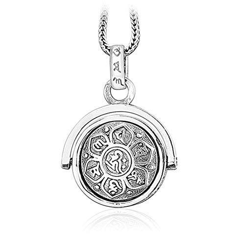 LOVECOM 925 Sterling Silver Rotating Charm Pendants for Women Mother Men Buddhism Wisdom Mercy Gifts (Silver Pendant+20inch Chain) 925 Sterling Silver Key Ring