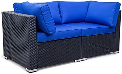 Patio Sofa Rattan Furniture Outdoor Wicker Sofa 2pcs Corner Wicker Sofa Black Couch Sectional Set Coversation Love Set Blue Cushion