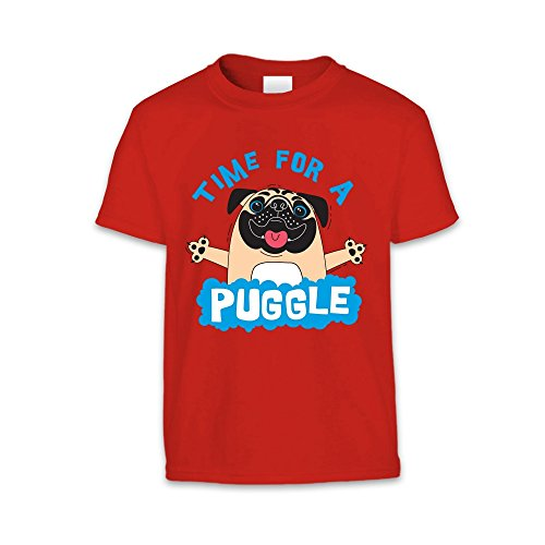 The T-Shirt Factory T-shirt Time For A Puggle - Enfant mixte Bleu clair