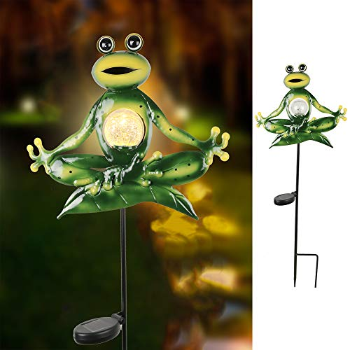 TERESA'S COLLECTIONS 35 inch Solar Garden Lights Frog Stake, Metal Yoga Frog Garden Statue with Crackle Glass Ball for Outdoor Patio Yard Decorations (And Yard Art Patio)
