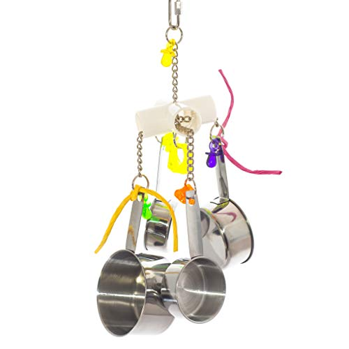 Birds LOVE Medium and Large Bird Toy PVC 4 Way Pipe with Durable Stainless Steel Cups and Pacifier Acrylic Jewels African Grey Amazon Macaw Cockatoo for Bird Cage