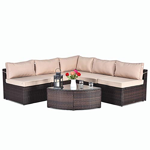 Gotland 6pcs Wedge Table Outdoor Rattan Sectional Sofa Patio Wicker Furniture Set,with PE Wicker Weather Cushions & Tea Table (No Dustcover)