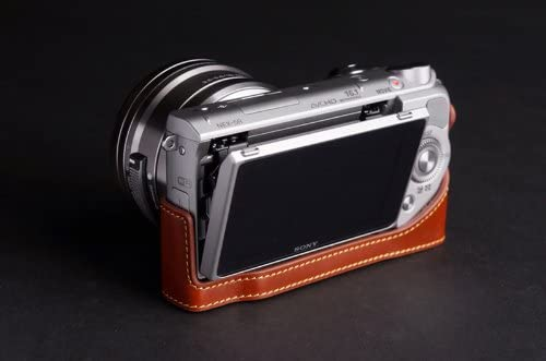 Handmade Genuine real Leather Full Camera Case bag cover for Sony NEX5T NEX5R Brown color