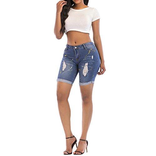 de de Desgaste Mezclilla Cortos Blue Mujeres Tendencia Personalidad Mano a Pintados Color Pantalones Blue XXL Size Resistentes la de Otprdirect al de wIScAFxq