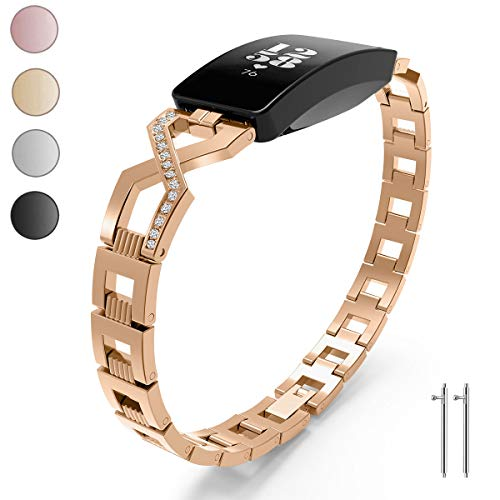 SOCEN Compatible Fitbit Inspire Band Fitbit Inspire HR Bands Women Fashion Wristband with Diamond Rhinestone Jewelry Stainless Steel Strap for Fitbit Inspire/Inspire HR (Rose - Gold Bands Fashion Diamond