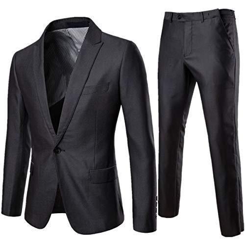Men's Single Breasted Suit Lapel Solid Color 2 Buckle Fashion Slim 2 Piece Suit Blazer Pants Dark Grey