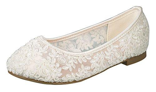 De Blossom Girl Girls' Floral Lace Pattern Dressy Special Occasion Flower Girl Slip on Ballet Flat White