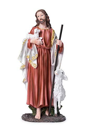 Joystarcraft Good Shepherd Statue Jesus Resin Sculpture Holy Home Decoration Statues Religious Gift ()