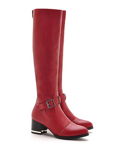 Mujer Uk6 Moda Zapatos A Fiesta Casual Cn Sintético Noche Y Moto Robusto us8 Red Rojo Tacón Eu39 Cn39 De Negro Vestido us8 Botas Black Xzz La E18qAFA