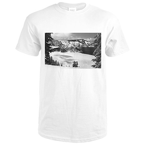 Crater Lake, Oregon View frozen over Wizard Island Photograph 3264 (Premium White T-Shirt XX-Large)
