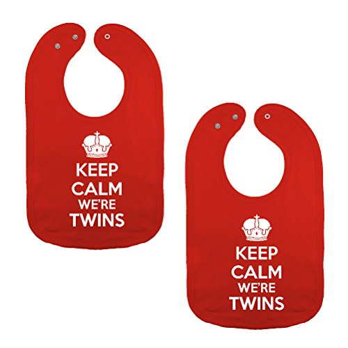 We Match! Unisex-Baby Twin Set 2-Pack Keep Calm We're Twins Thick 2-Ply Cotton Baby Bibs With Snaps (Red)