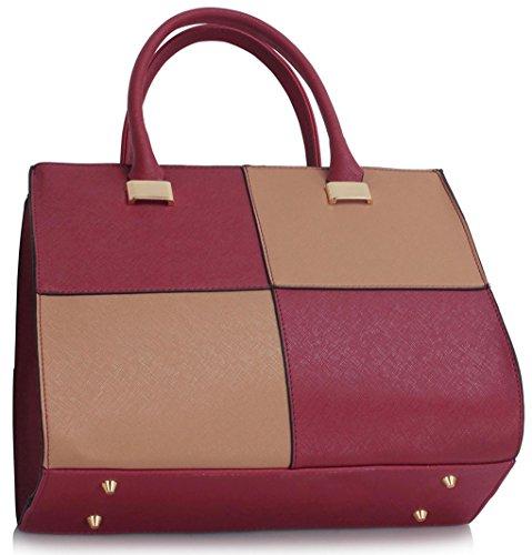Designer Nude Burgundy Ladies Handbags Bags Tote LeahWard Shoulder Nice 5x14x28cm Tote 111 Celeb 35 Style Women's Swq5Bg