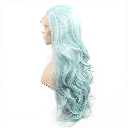 Heat Resistant Summer Blue Green Wig Natural Wave Long Synthetic Hair Handmade Lace Front Wigs for Drag Queen Pastel Cool Color Women Girls Replacement Glueless Synthetic Wig 22inches