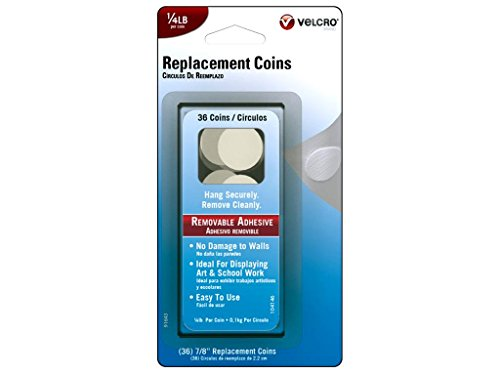 VELCRO Brand Removable Replacement Coins, 7/8-Inch, White, 36 Coins (91643)