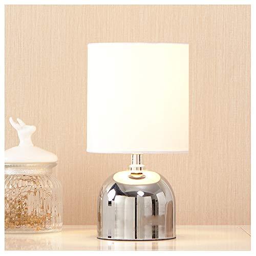 POPILION Chrome Finish Metal Small Mini Livingroom Bedside Lamp Table Lamps,White Fabric Shade