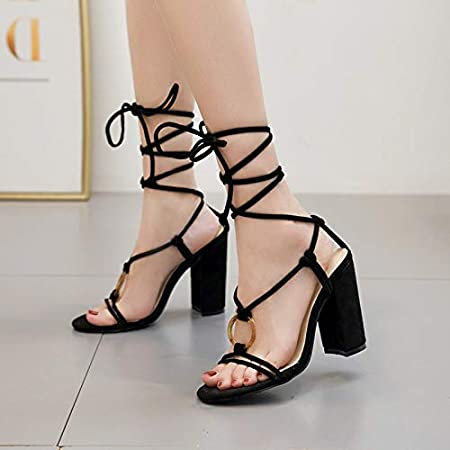 black ankle lace up heels