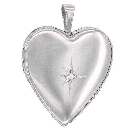 Sterling Silver Diamond Heart Locket Necklace 3/4 inch NO CHAIN -