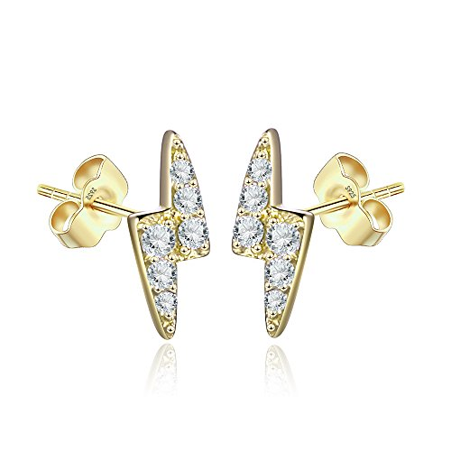 Lightning Bolt Tiny Stud Earrings for Women in Sterling Silver 14K Yellow Gold Plating