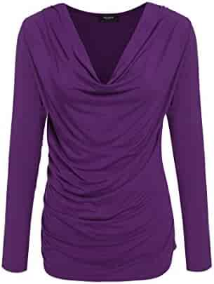 Zeagoo Women's Ruched Cowl Neck Casual Stretchy Top