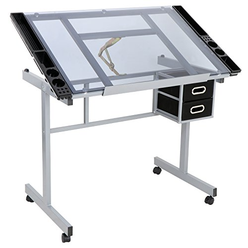 ZENY Adjustable Drafting Drawing Table Glass Top Rolling Drafting Desk Tempered Craft Station by ZENY