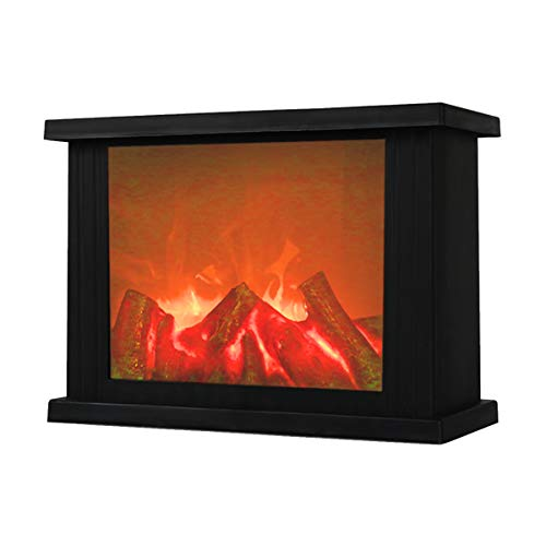 Fireplace Lanterns,Decorative Lanterns,Flameless Led Lantern, Battery Operated and USB Operated, 6 Hour Timer Included,Portable Fireplace Lantern-Indoor/Outdoor,(Black Rectangle)