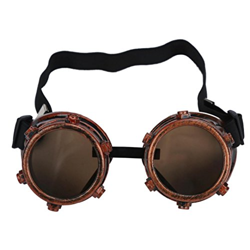 FTXJ Retro Steampunk Goggles Welding Punk Glasses Cosplay (Brass Color) -