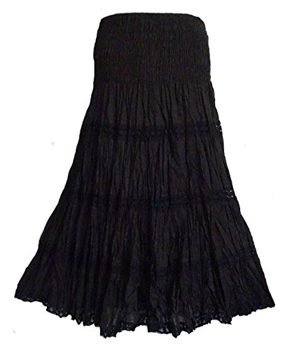 Skirt Crinkle Tier (Sacred Threads Beautiful Black Lace Smocked Skirt One Size)