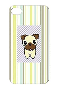 Aurora The Pug White For Iphone 4s Pug Stripes Stripe Animal Dogs Dog Animals Nature Dogs Pets Animals Pet Pugs Protective Case