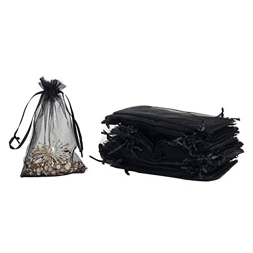 HRX Package 100pcs Black Organza Gift Bags 4