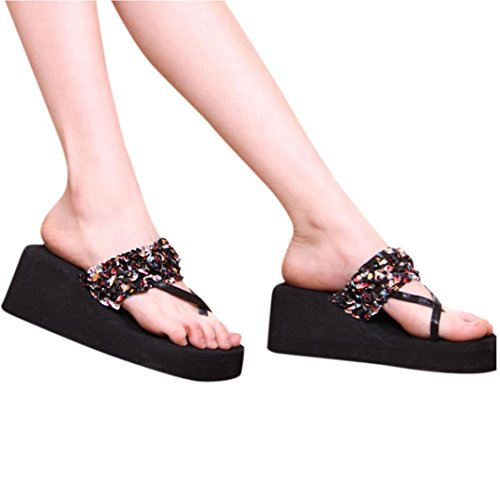 Transer 2016 1Pair Bohemia de las mujeres zapatillas de manchas floral de la cuña de tacón Chanclas Negro