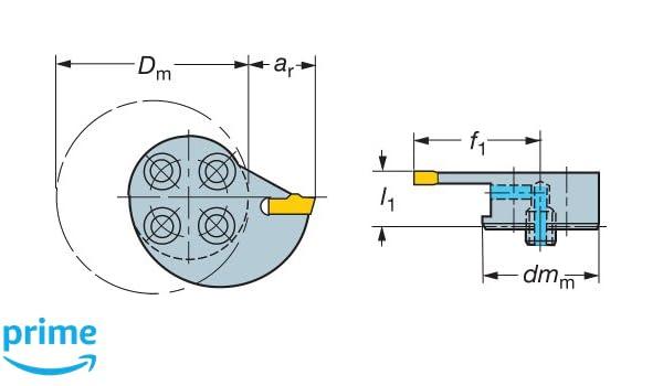 0.28 Maximum Depth of Cut 16 mm Shank Diameter Sandvik Coromant RAG551.31-160808-20 Steel T-Max Q-Cut Head for Grooving Holder