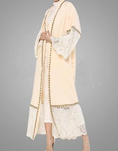 Lungo Musulmano Di Abito Coolred In Abaya Pizzo Cardigan donne Cucitura Casuale Beige Kaftani v5qxq6wnOZ