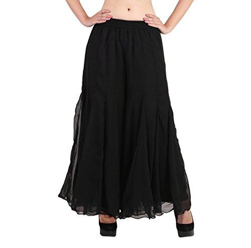 (Shararat Women's Palazzo Pants Georgette Loose Plain Flared High Waist Sharara (Black))