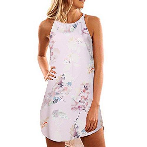 Emimarol Women Dress Summer Sleeveless Strap Dress Print Beach Dress Mini Dress Pink ()