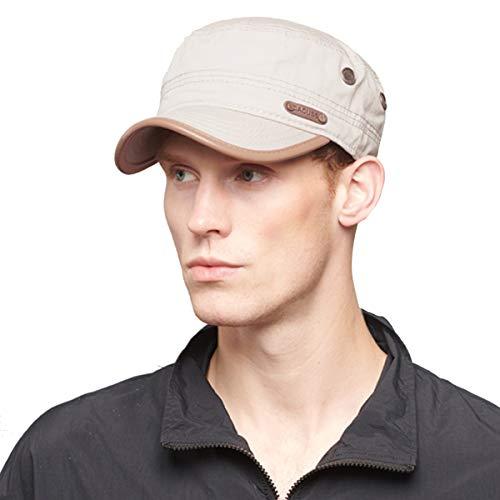 CACUSS Cotton Classic Army Hat Adjustable Mens Caps Military Hat Comfy Cadet Hat Vintage Flat Top Cap Baseball Cap Beige