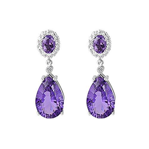 Aurora Tears Lady Elegant Amethyst Purple Crystal Teardrops Dangler Earrings Eardrop (Amethyst Teardrop Dangle Earrings)