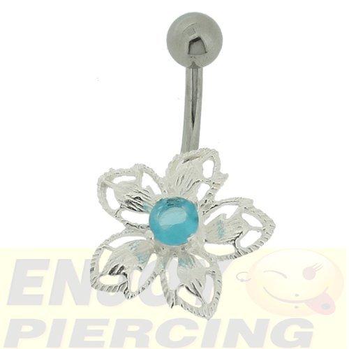 Piercing Nombril Argent 925/1000 Fleur Ciselée Turquoise