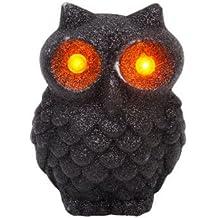 "Glitter LED Flashing Light SPOOKY OWL Halloween Decoration (Pack of 2) ~3¾ x 4¾"" (Black (Quantity of 2))"
