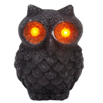 Glitter LED Flashing Light SPOOKY OWL Halloween Decoration (Pack of 2) ~3¾ x 4¾