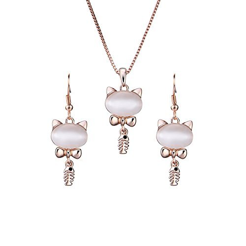 Yonteia Jewelry Set Opal Rose Gold kitty Pendant Earrings and Necklace Jewelry Sets Valentine\'s Day Gifts …