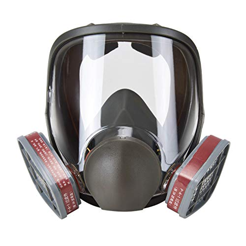 Holulo Full Face Facepiece Respirator Paint Spray Mask with 2 x Organic Vapor Cartridges by Holulo (Image #1)
