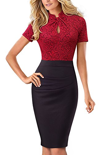 HOMEYEE Women's Short Sleeve Business Church Dress B430 (6, Red + Black)