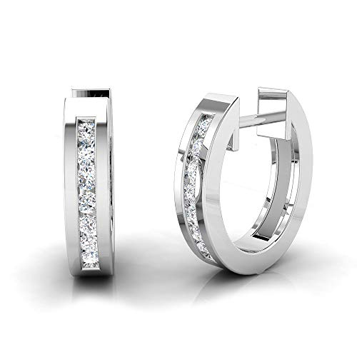 IGI Certified 1/4 Carat Natural Diamond Sterling Silver Casual Huggie Earrings for Women (K-L Color, I2-I3 Clarity)