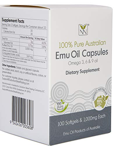 - Emu Oil Capsules - (100) 1,000mg Supplement Caps - Contains Omega 3 6 9 Oils and Naturally Occuring CLA.
