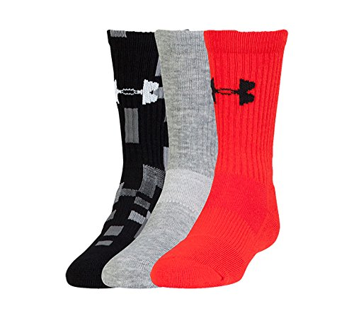 Under Armour Boys Next Logo Crew Socks, Rocket Red/Assorted, Large