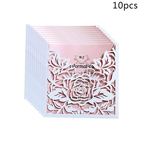 (Sundlight 10pcs/lot Lace Pocket Wedding Invitations Cards Square Laser Cut Rose Flower Greeting Card Invitations Card Event Party)