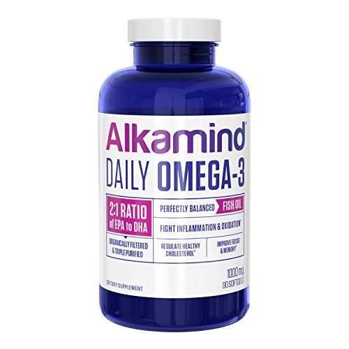 Alkamind Daily Omega-3 Supplement, Lemon Flavor Fish Oil with DHA + EPA, Supports Brain Development, Heart Health, Healthy Joints, and Total Wellness, 90 Count to Get Off Your Acid
